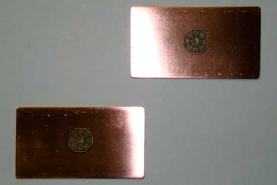 *Пластина медная 70мм.-110 мм. С дополнительным биокорректирующим элементом. Цена=1080 рублей.
